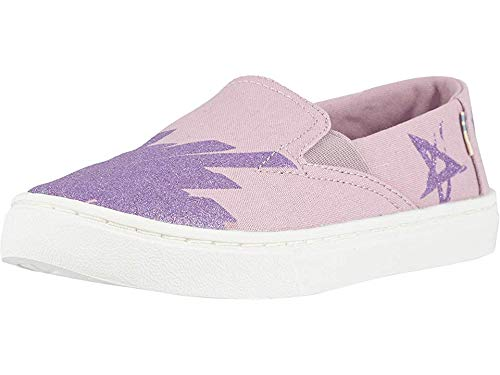 Girls Canvas Shoes - TOMS Kids Girl's Luca (Little Kid/Big Kid) Burnished Lilac Glitter Star Canvas 3 M US Little Kid