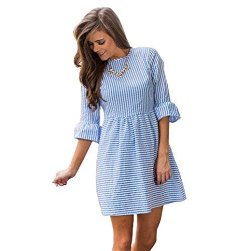 Fluted Puff (Sunmoot,Women's Mini Dress Fluted Sleeve Dress Stripe Print Casual Half Puff Sleeve Party Dress (14, Blue))