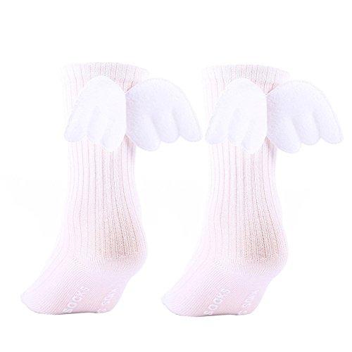 Braceus Angel Wings Socks Baby Kids Toddler Girls Ruffles Soft Knee High Leg Warmer Socks (White)]()