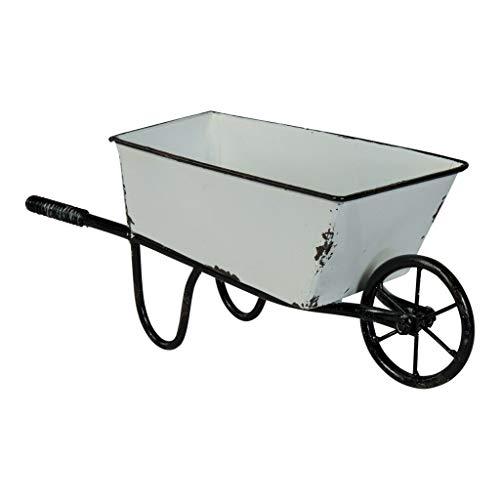 Decorative Wheelbarrow Planter White Metal 12.5
