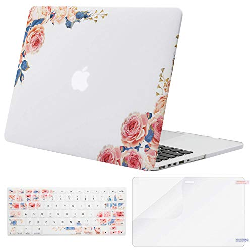 MOSISO Case Only Compatible with Older Version MacBook Pro Retina 13 inch (Model: A1502 & A1425)(Release 2015-end 2012),Plastic Pattern Hard Shell&Keyboard Cover&Screen Protector, Peony White Base