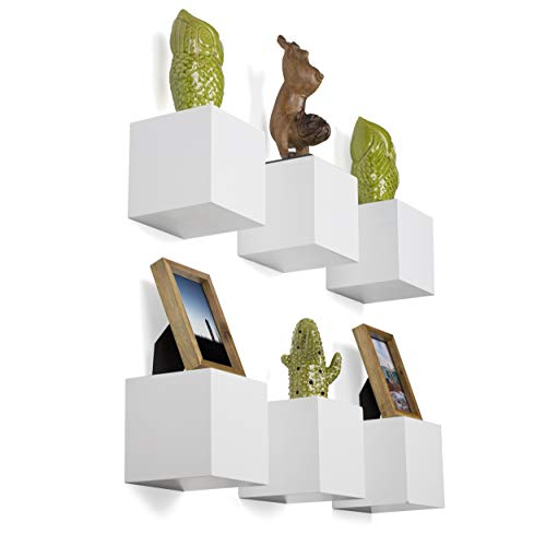 - brightmaison Decorative Square Wall Cubes Display - 6 Set Shelf - Glossy Floating Block Shelves