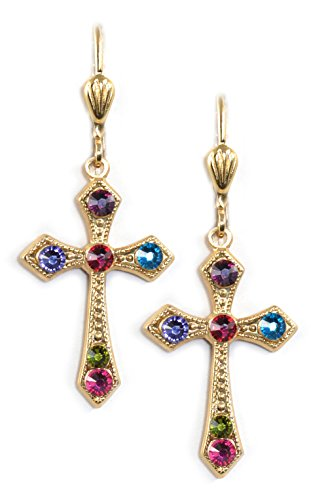 Clara Beau Elegant Multicolor Swarovski crystal Victortian Cross dangle earrings EX10 GoldTone - Multi Color Cross Ring