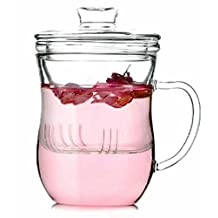 Clear Glass Tea Cup Glass Infuser and Lid beauty Cup