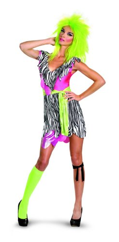 Disguise Jem and The Holograms Pizzaz Deluxe Womens Costume, Black/White, Large/12-14 (Jem And The Holograms Halloween Costume)