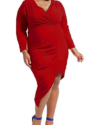 Del Irregolare Puro Di Partito Vestito Coolred Rosso Sera V Tagliato Di donne Collo Colore Più Formato 1fqBUwzO