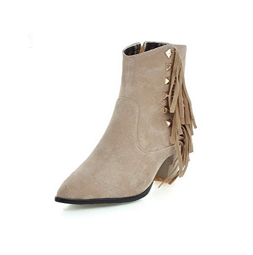 Allhqfashion Women's Imitated Suede Low-top Solid Zipper Kitten-Heels Boots Beige
