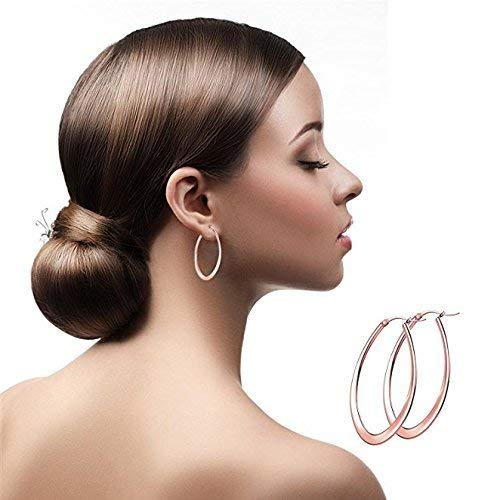 Hoop Earrings for women,UHIBROS Stainless Steel Teardrop 14K Gold Plated Rose Gold Plated Silver Hoop Earring Set 3 Pairs 35MM
