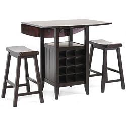 Baxton Studio 3-Piece Reynolds Black Wood Modern Drop-Leaf Pub Set with Wine Rack