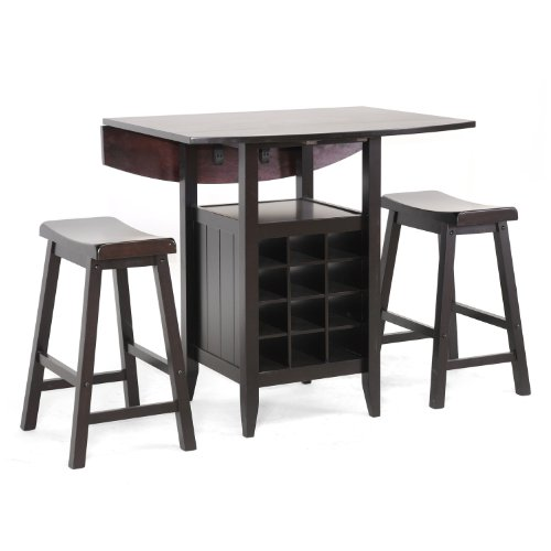 - Baxton Studio 3-Piece Reynolds Black Wood Modern Drop-Leaf Pub Set with Wine Rack, 35.875L x 35.875W x 34.875H, Dark Brown
