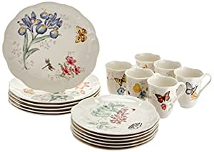 ... Dinnerware Sets  sc 1 st  Amazon.com & Amazon.com: Lenox Butterfly Meadow 18-Piece Dinnerware Set Service ...
