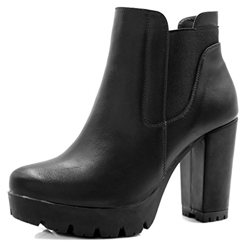 Allegra K Women's Chunky High Heel Platform Zipper Chelsea Boots (Size US 6) Black