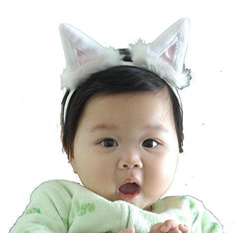 Cosplay Halloween White Cat Ears Kitten Ears Headband Animal Ears for Baby Toddler Girls Children Adults by Witty Pretty - Halloween Costumes Ariana Grande