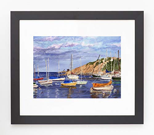 (Framed and Matted Rockport Harbor Giclee Print)