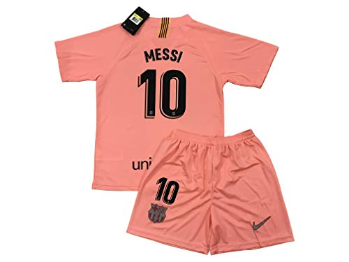 (TrendsNow New 2019 Messi #10 Barcelona 3rd Jersey & Shorts for Kids and Youths (9-10 Years Old) Pink)