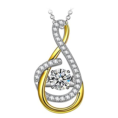 """Dancing Heart """"Fadeless Love"""" ?Dancing Stone? 925 Sterling Silver Pendant Necklace ?Gift Packing for Christmas? 4A CZ Gold Plated Fine Jewelry Allergy Free"""