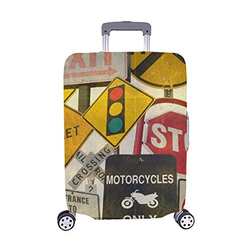 Price comparison product image Aged Vintage Collage Traffic Signs Stock Photo Pattern Spandex Trolley Case Travel Luggage Protector Suitcase Cover 28.5 X 20.5 Inch