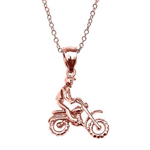 Collier Femme Pendentif 10 Ct Or Rose Hors Route Montagne Motocyclette (Livré avec une 45cm Chaîne)