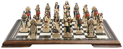 Celtic Themed Chess Set - 4.5 Inches - In Presentation Box - Handmade and Hand-painted in (Celtic Chess Board)