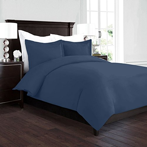Nestl Bedding Duvet Cover, Protects and Covers your Comforter/Duvet Insert, Luxury 100% Super Soft Microfiber, Twin Size, Color Navy Blue, 2 Piece Duvet Cover Set Includes 1 Pillow Shams (Twin Duvet Bedding)