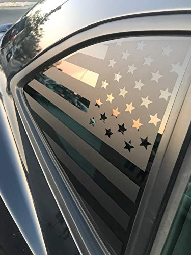 Elevated Auto Styling - Chevy Camaro American Flag Rear Quarter Window Decal Pair, Matte Black (2010-2015)