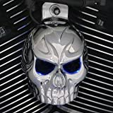 Harley Chrome Evil Twin Skull Horn Cover W/Back Lit LED Eyes. (Red)
