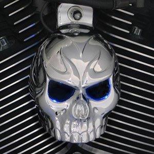 Skull Cover Horn (Harley Chrome Evil Twin Skull Horn Cover W/Back Lit LED Eyes. (Blue))