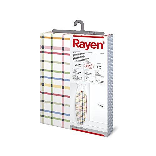 Rayen - Funda para tabla de planchar Universal XXL, alcolchada, facil de colocar con sistema EasyClip. 3 capas: Espuma, Muleton y tejido 100% de algodon, 150x55 cm, gama Medium