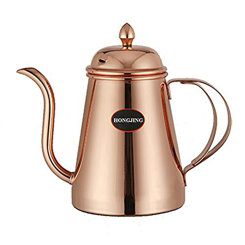 HONGJING Classic Pour Over Drip Coffee Kettle, Premium Stainless Steel with Copper Coating Gooseneck Coffee Tea Pot (Rose Gold)