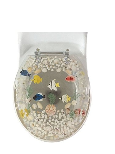 Heavy duty Fish Aquarium Round Standard Size Toilet Seat with Cover Acrylic Seats.(Clear