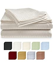 Crystal Trading 4-Piece Bed Sheet Set - Dobby Stripe - Microfiber