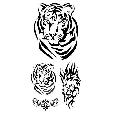 1pc 3D Tiger Badge Waterproof Tattoo Pattern Temporary Tattoo Sticker for Body ()