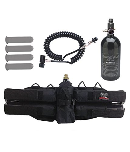 (MAddog Sports 4+1 Paintball Harness w/Pods, 48/3000 HPA Tank & Standard Remote Coil)