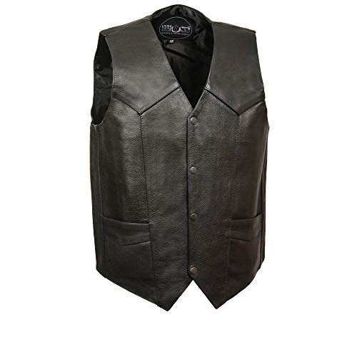 Basic Leather Motorcycle Vest - M-BOSS MOTORCYCLE APPAREL-BOS13513-BLACK-Men's Basic concealed carry biker leather vest.-BLACK-40