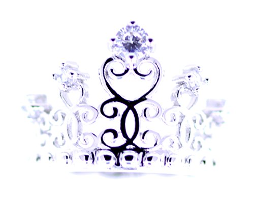 Lizzyoftheflowers - Lizzyoftheflowers. Silver tone cutout crown / tiara ring with crystal, UK Size - Ring Out Crown Cut