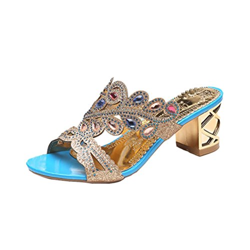 Alto 37 Tacco Pompe Caviglia Sandali Witsaye Col Con Estate Stiletto Donna Lacci Tacco Blu Elegante Partito Cinturino Scarpe aqxCgvq4w