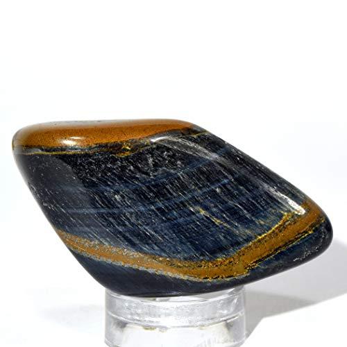 65 Carat Blue Tiger Eye Cabochon Pebble Natural Chatoyant Hawk's Eye Crystal Cab Polished Quartz Mineral Stone - Africa ()