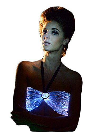 Fiber Optic Backless Bras LED Light up Dance Costumes Glow in The Dark Crop Tops