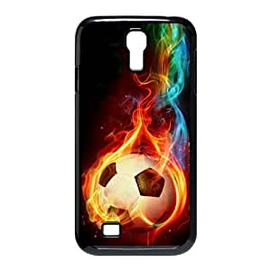 wugdiy Custom Hard Plastic Back Case Cover for SamSung Galaxy S4 I9500 with Unique Design Fire Football Soccer ball