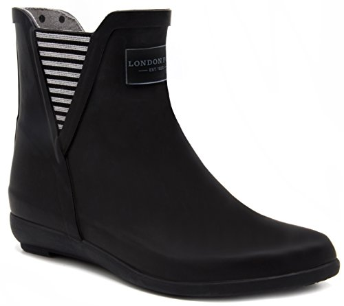 London Fog Womens Piccadilly Rain Boot Black 8 M US (Best Chelsea Boots 2019)
