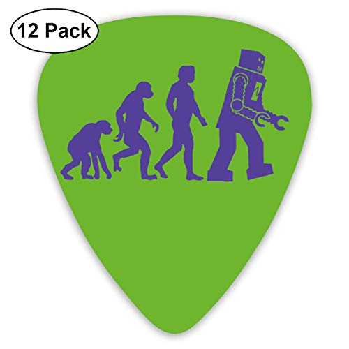 Qbeir 12-Pack Guitar Picks Plectrums 0.46mm / 0.71mm / 0.96mm Robot Evolution Celluloid for Bass Ukulele -