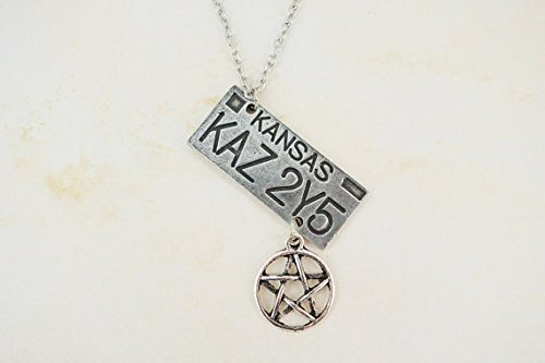 (Supernatural Inspired License Plate Necklace KAZ 2Y5 Dean Winchester 1967 Chevy Impala Charm Pentagram)