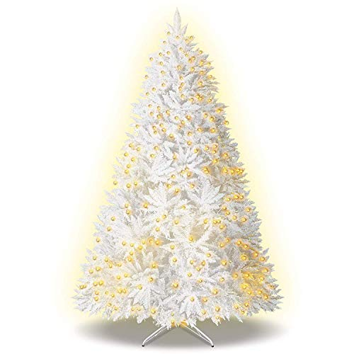 BenefitUSA Artificial PVC White Christmas Tree with 750 LED Lights & Metal Steel Base (7.5Ft & 2514Tips)