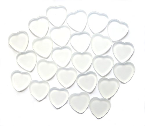 Glass Frosted Heart - White Frosted Glass Signing Hearts for Your Wedding. Easy to Write On. Great for Table Decorations, Too. Set 0f 24. by Lifeforce Glass