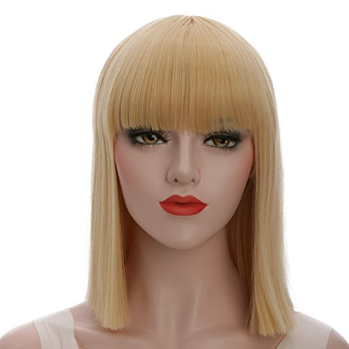karlery Straight Short Hair Bob Wigs with Flat Bangs Synthetic Wigs for Women Natural As Real Hair (Blonde) ()