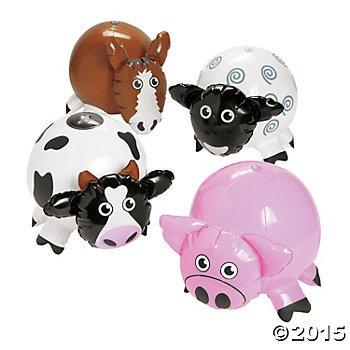 4 Adorable FARM BARNYARD Animal Inflates - Inflatable PIG COW SHEEP Horse - 10