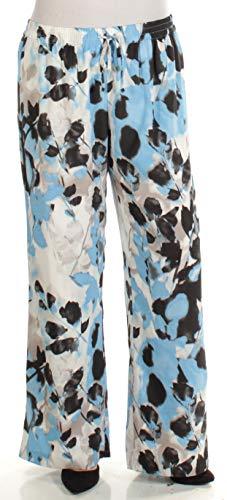 Calvin Klein $80 Womens New 1556 Blue Floral Sheer Casual Pants XL B+B