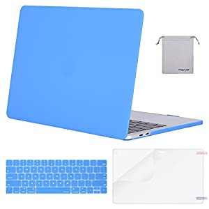MOSISO MacBook Pro 13 Case 2018 2017 2016 Release A1989/A1706/A1708, Plastic Hard Shell & Keyboard Cover & Screen Protector & Storage Bag Compatible Newest Mac Pro 13 Inch, Brahmin Blue