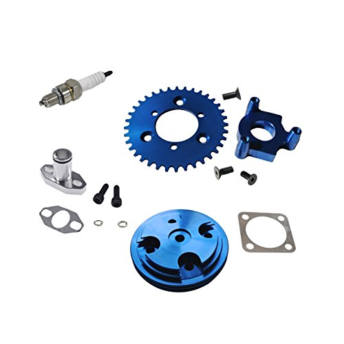 NORTHTIGER Blue CNC Cylinder Head 36T Sprocket Air Intake Manifold 66cc 80cc Motorized Bike ()