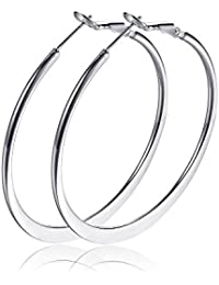 "Fashion 50mm(2"") Flat Big Hoop Earrings For Women Girls Silver 14k Rose Gold Large Basketball Stainless Steel Huggie Hoops For Sensitive Ears"